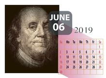June year 2019 monthly calendar royalty free illustration