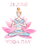 21 june yoga day watercolor illustration Stock Photography
