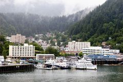 Juneau Alaska. Downtown harbor in juneau alaska on slightly overcast day stock images