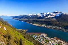 Juneau, Alaska. Aerial view of the Gastineau channel and Douglas Island stock photos