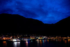 Juneau, Alaska at night Royalty Free Stock Images