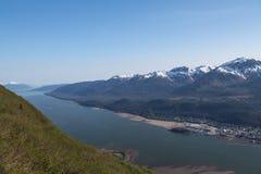 Juneau, Alaska. View of the mountains and forests surrounding Juneau, Alaska stock photos