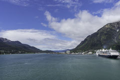 Juneau and Douglas from the docks stock photography