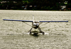 Juneau Floatplane Landing Center. Juneau Floatplane Landing on water Royalty Free Stock Image