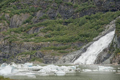 Juneau Mendenhall glacier waterfall Royalty Free Stock Photos