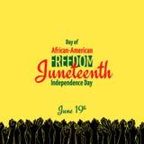 Juneteenth, ημέρα της ανεξαρτησίας αφροαμερικάνων, στις 19 Ιουνίου Ημέρα της ελευθερίας και της χειραφέτησης Στοκ Φωτογραφίες