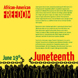 Juneteenth, African-American Independence Day, June 19. Day of Freedom and Emancipation. Banner with broken chain and raised hands of people, symbol of Stock Photos