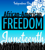 Juneteenth, African-American Independence Day, June 19. Day of Freedom and Emancipation. Blue card with flower and seamless border of raised hand of Stock Photo