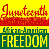 Juneteenth, African-American Independence Day, June 19. Day of Freedom and Emancipation. Colors of Pan-African flag. Yellow banner with horizontal seamless Stock Photography