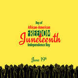 Juneteenth, African-American Independence Day, June 19. Day of Freedom and Emancipation. Yellow banner with seamless border, raised hand of celebrating people royalty free illustration