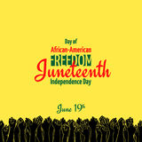 Juneteenth, African-American Independence Day, June 19. Day of Freedom and Emancipation. Yellow banner with seamless border, raised hand of celebrating people vector illustration
