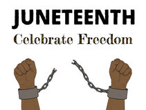 Juneteenth. Celebrate Freedom. Hand-drawn poster, hands with broken chain Royalty Free Stock Photography