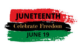 Juneteenth. Celebrate Freedom. Pan-african flag drawn with brush in grunge style Royalty Free Stock Image