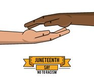 Juneteenth day together hand fight freddom. Vector illustration Stock Photography