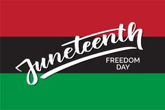 Juneteenth emancipation day, hand-written text, typography, hand lettering, calligraphy. Hand writing of word Juneteenth, june 19, for holiday postcard Royalty Free Stock Photo