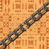 Juneteenth, Freedom Day. African-American Independence Day, June 19. Broken chain. Background - African ornaments. Brown shades. Juneteenth, Freedom Day. African Stock Photography