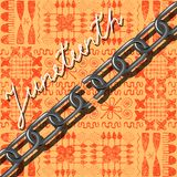 Juneteenth, Freedom Day. African-American Independence Day, June 19. Broken chain. Background - African ornaments. Orange. Juneteenth, Freedom Day. African Royalty Free Stock Photo