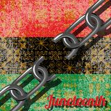 Juneteenth, Freedom Day. African-American Independence Day, June 19. Broken chain. Background - African ornaments. Pan-African fla. Juneteenth, Freedom Day Royalty Free Stock Image