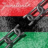 Juneteenth, Freedom Day. African-American Independence Day, June 19. Broken chain. Background - Pan-African flag, UNIA. Juneteenth, Freedom Day. African-American royalty free illustration