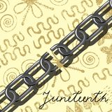 Juneteenth, Freedom Day. African-American Independence Day, June 19. Broken chain. Light coloured Background - African ornaments. Juneteenth, Freedom Day Stock Photo