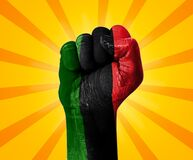 Free Juneteenth Freedom Day Celebration With Fist In Three Color Red Black And Green. Modern Freedom Day Powerful Celebration Stock Photo - 221022270