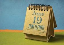 Free Juneteenth June 19 In A Desktop Calendar Royalty Free Stock Photography - 218562577