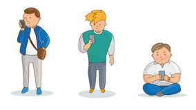 Jung bemannt mit Telefon Vektorillustration in der Karikaturart Bunte Zeichentrickfilm-Figuren Lokalisiert auf Weiß vektor abbildung