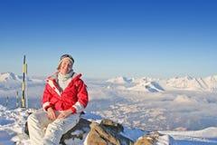 Jung Frau in den Alpen Stockfotografie