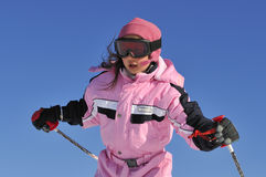 Jung girl skiing Stock Photos