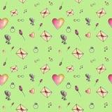 Jung-grün-Graskarikatur-Valentinsgrußmuster Stockfoto