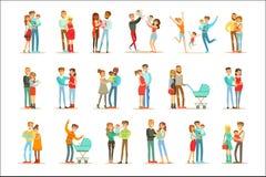 Jung und Eltern mit kleinen Babys und den Kleinkindern erwartend eingestellt von den glücklichen vollen Familien-Porträts vektor abbildung