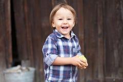 Junge, Äpfel essend Lizenzfreie Stockfotos