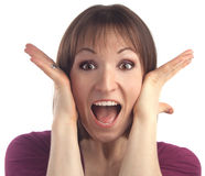 Junge überraschte Frau. Getrennt über Weiß. stockfoto