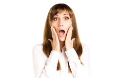 Junge überraschte Frau lokalisiert auf weißem Hintergrund Lizenzfreies Stockbild