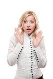 Junge überraschte Geschäftsfrau Stockfotos