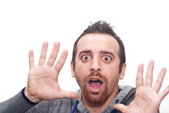 Junge überraschtes Mannporträt Lizenzfreies Stockfoto