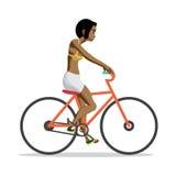 Junge Afrofrau reitet rotes Fahrrad auf lokalisierten Hintergrund stock abbildung