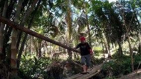 Junge angemessene Dame kreuzt Bambusbrücke über dem Frühlingsfluß, der mit natürlicher Vegetation voll gestopft ist stock footage