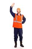 Junge Arbeitskraft in der Uniform Stockfoto
