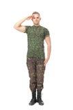 Junge Armeesoldatbegrüßung Stockfotografie