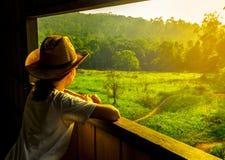 Junge Asiatinabnutzung, die der Hut und aufpassende schöne Ansicht der grünen Rasenfläche und des Waldes am Aussichtsturm der wil stockbilder