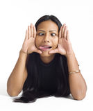 Junge asiatische Frau gestaltetes Gesicht Lizenzfreies Stockbild