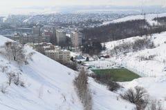 Junge Athleten spielen auf grüner Neigung ist noch herum im Winter stockbild