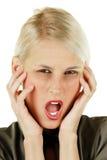 Junge attraktive blonde Frau mit Kopfschmerzen Stockfotografie