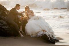 Junge attraktive Brautpaare auf Strand mit Wein Stockbild
