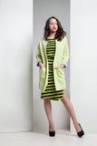 Junge attraktive Frau in gestreiftem Kleid und in Mantel stockbilder