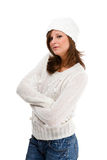 Junge attraktive Frau getrennt auf weißem backgroun Stockfotos