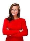 Junge Frau lokalisiert auf weißem Hintergrund Lizenzfreie Stockfotos