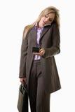 Junge attraktive kaukasische blonde Geschäftsfrau Lizenzfreies Stockfoto
