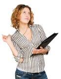 Junge attraktive träumende Geschäftsfrau Stockfoto